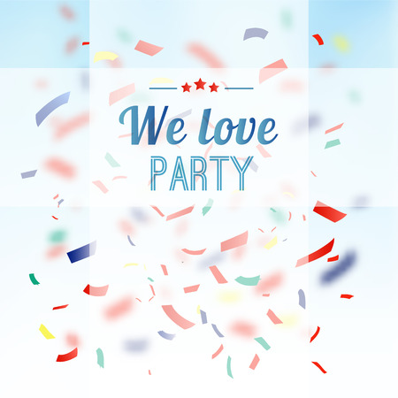 Colorful confetti party background, vector greeting card, invitation