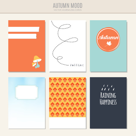 Set of autumn fall greeting, journaling cards, vector illustration backgrounds Illustration