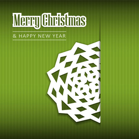 Christmas greeting card with paper snowflake, vector illustration background Illustration