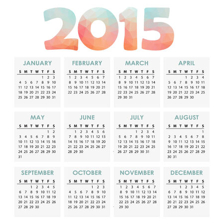 Calendar 2015 with polygon headline, vector illustration background