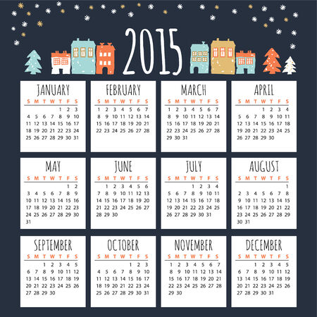 Calendar 2015 with cute winter houses, vector illustration background Illustration