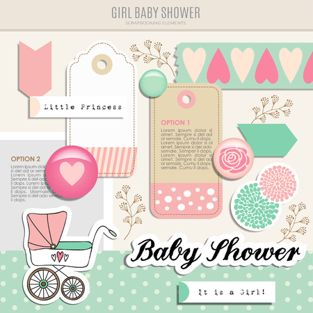 mint: Cute set of baby shower scrapbooking elements, isolated vector objects Illustration