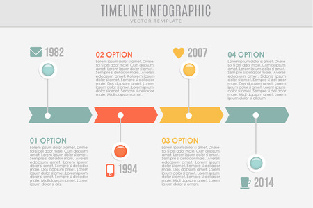 horizontal bar: Timeline report template with buttons and icons, vector illustration background
