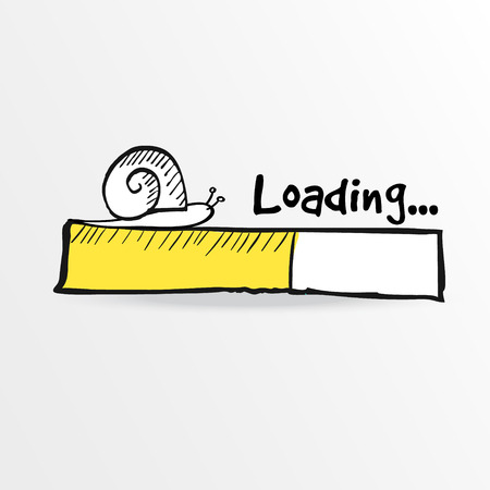 Loading bar with a doodle snail, vector illustration, hand drawn sketch Stock Illustratie