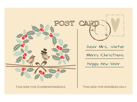 Cute retro christmas greeting postcard with birds and holly wreath, vector illustration background Vector