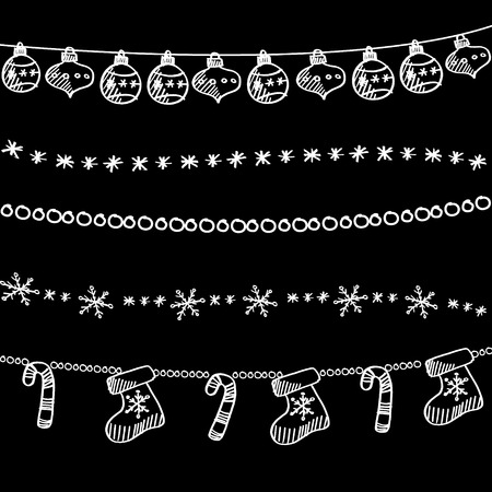 border cartoon: Set of christmas chalk doodle garlands, dividers on blackboard, vector illustration background