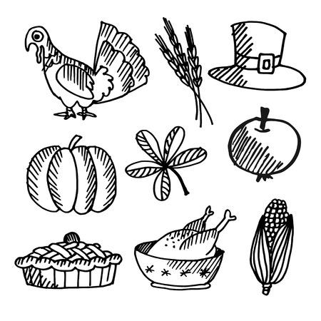 thanksgiving day symbol: Set di ringraziamento schizzi neri, gli oggetti vettoriali isolato