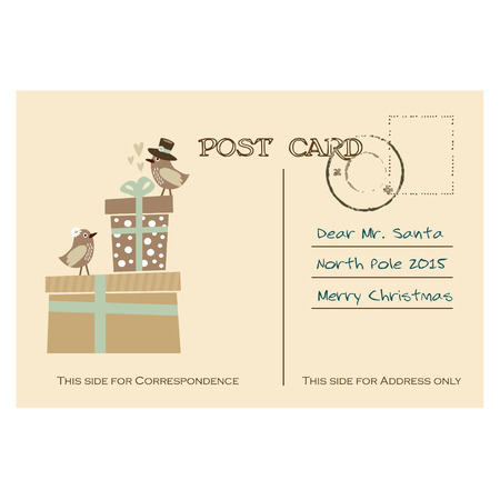 postcard back: Vintage christmas greeting postcard with gift boxes and birds, hand drawn vector illustration background Illustration