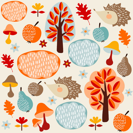 animal texture: Autumn fall seamless pattern with fruit, hedgehogs and trees, vector illustration background Illustration