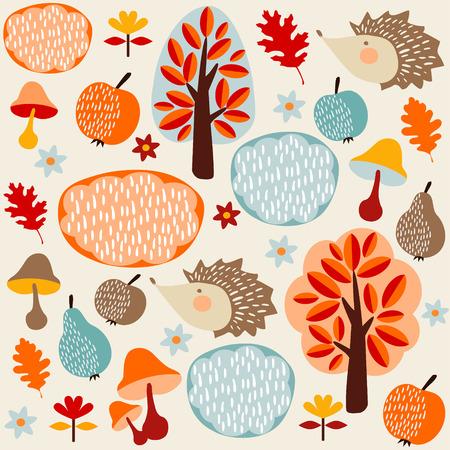 Herfst vallen naadloze patroon met fruit, egels en bomen, vector illustratie achtergrond