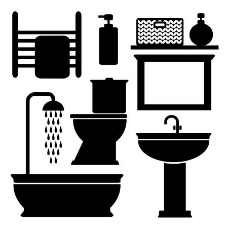 shower curtain: Bathroom toilet black icons set, silhouettes on white background, vector illustration Illustration