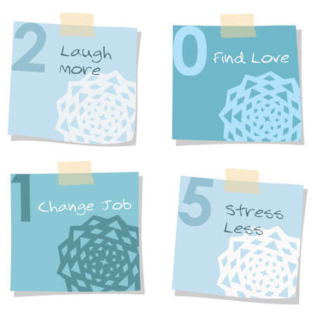 self   improvement: 2015 new years resolutions self improvement notes, greeting card, vector isolated objects Illustration