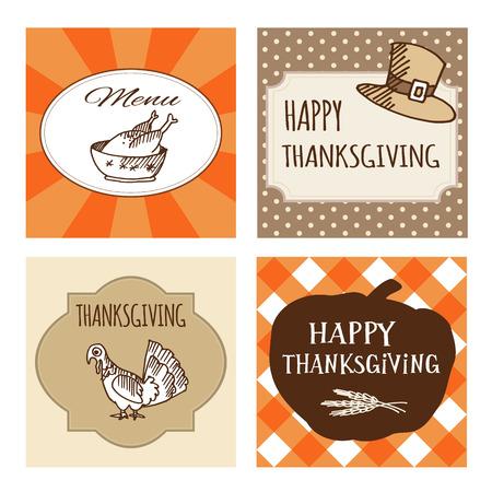 Set of four cute Thanksgiving cards, invitations. Vector illustrations. Autumn, fall ornamental frames. Vector