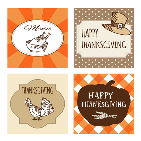 Set of four cute Thanksgiving cards, invitations. Vector illustrations. Autumn, fall ornamental frames. Vector