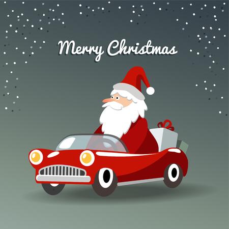 Leuke kerst wenskaart met de kerstman, retro sportwagen en geschenken, vector illustratie achtergrond