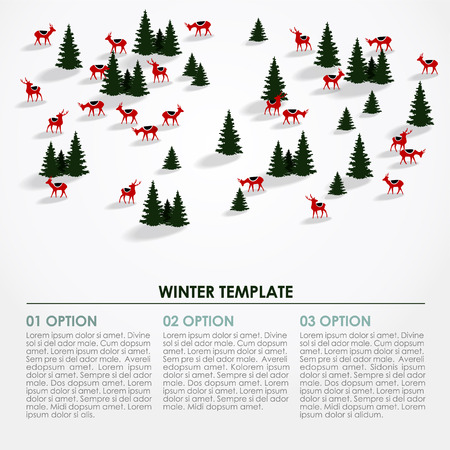 Christmas winter infographics background, snowy landscape with silhouettes of trees and deers, vector illustration