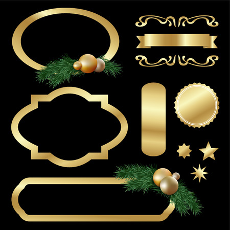 Set of gold luxury labels, frames, stars, balls, fir tree twigs and other graphic elements, vector isolated objects