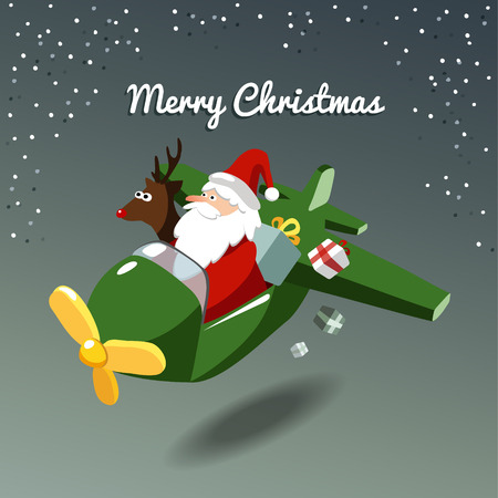 Cute christmas card with santa claus and reindeer rudolph flying the plane, vector illustration background