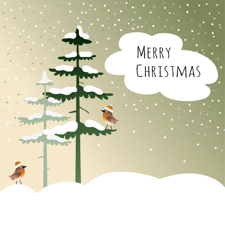 green card: Cute christmas card with birds, finches, in the wood, winter landscape with falling snow, vector illustration background Illustration