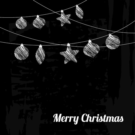 Christmas greeting card with chalk drawn garland of baubles, stars, vector illustration blackboard background Vector