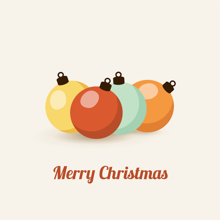 Retro christmas card with christmas balls, vector illustration background