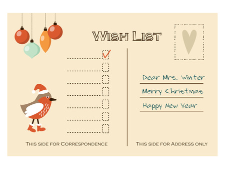 winter wish: Cute christmas card, wish list with bird and baubles, vector illustration background Illustration