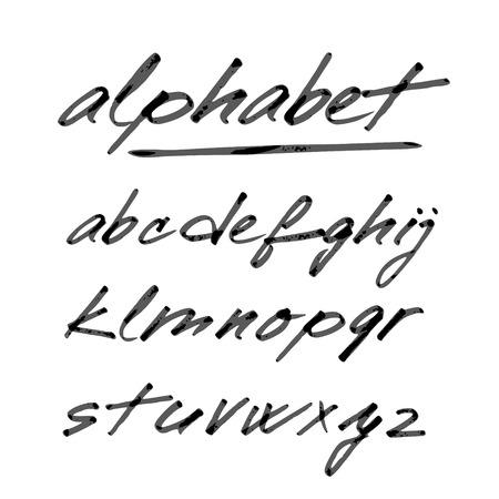 script: Hand drawn vector alphabet, font, isolated letters written with marker or ink