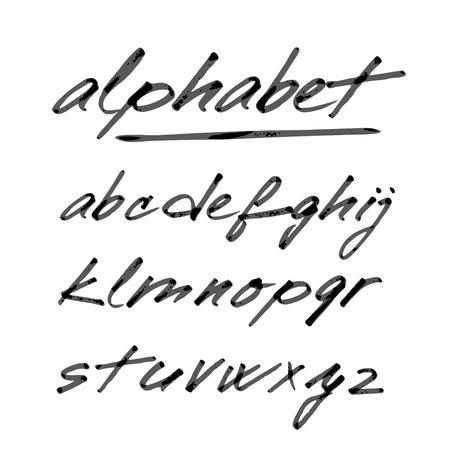 tipos de letras: Vector dibujado a mano alfabeto, fuente, letras aisladas escritas con rotulador o tinta