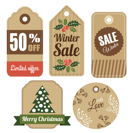 Set of vintage christmas winter gift and sale tags, labels, vector isolated objects Vector