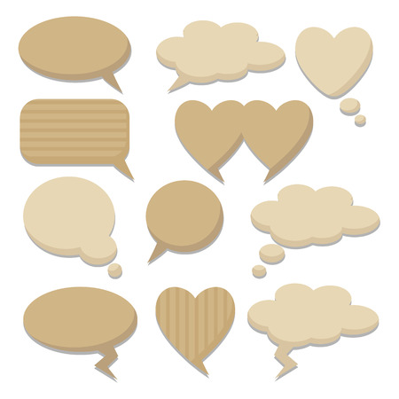 love cloud: Speech thought bubble set, flat design, vector elements, paper design