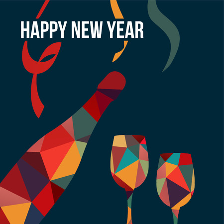 New year greeting card, invitation, with polygon bottle of wine and glasses, vector illustration background