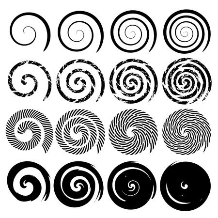 Set of spiral motion elements, black isolated objects, different brush texture, vector illustrations