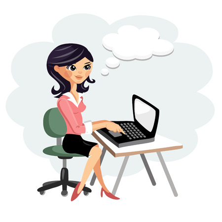 girl laptop: Young woman working on computer at desk, vector cartoon illustration