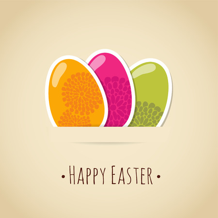 Cute easter card with painted colorful eggs, floral design, vector illustration background Vector
