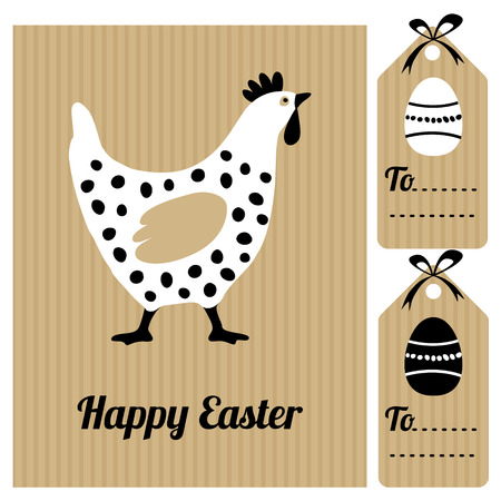 vector eggs: Happy easter card with hen and eggs, invitation, black white flat design, cute vector hand drawn illustration Illustration