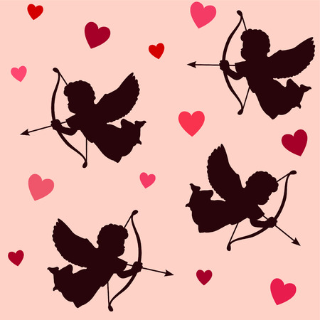 Cute valentine seamless pattern with silhouettes of angels cupids with bows, arrows and hearts, vector illustration background
