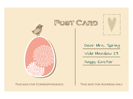 Cute retro easter postcard with bird and floral egg, flat design, vector illustration background Vector