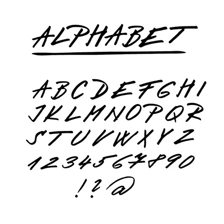 Hand drawn vector alphabet, font, isolated upper case letters, numbers written with marker or ink