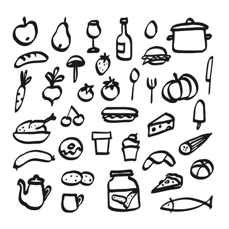 Set of doodle icons of food, drink and kitchen utensils, isolated vector sketches
