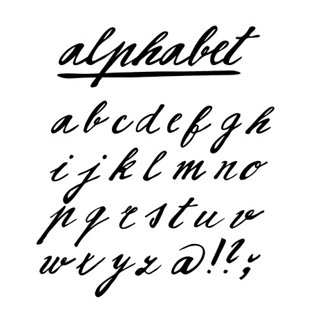 Hand drawn vector alphabet, font, isolated letters written with marker or ink Vector
