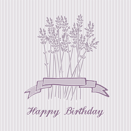 Romantic birthday card with lavender bouquet, invitation, vector background Illustration