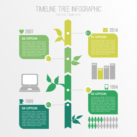 Timeline tree infographics template, eco nature design, vector illustration background