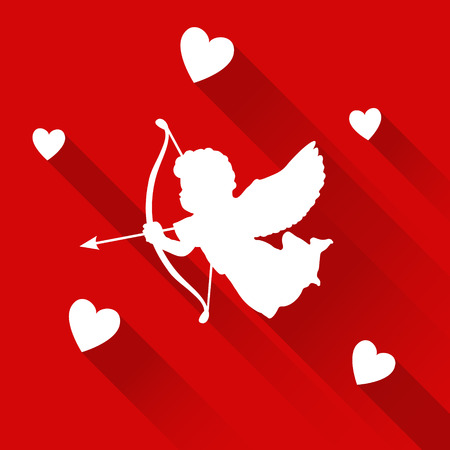 eros: Cute valentine card with silhouette of angel cupid with arrow and hearts, vector illustration background, icon Illustration