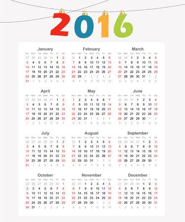 Calendar 2016, simple modern design, vector illustration background