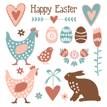Cute easter elements set with eggs, hens, hare, hearts and flowers, vector illustration Ilustracja
