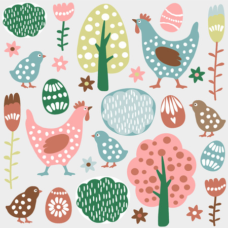painted the cover illustration: Cute colorful seamless easter spring vector pattern with hand drawn hens, chickens, eggs and flowers
