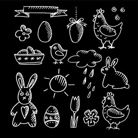 chalk outline: Set of spring easter chalk doodle sketches, icons, vector illustrations isolated on blackboard Illustration