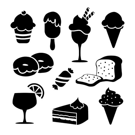 Set of black isolated food icons, desserts, ice creams, sweets, pastry, vector objects