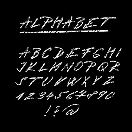 Chalk sketched font, isolated vector alphabet letters and numbers on blackboard