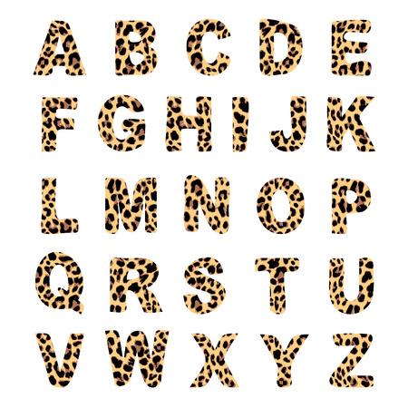 유행 알파벳 세트, 표범 무늬 디자인, 벡터 일러스트 레이 션, 글꼴 일러스트